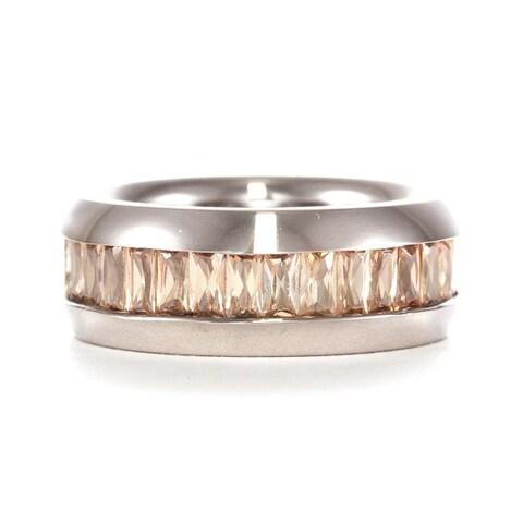 Men's Titanium Orange Cubic Zirconia Ring