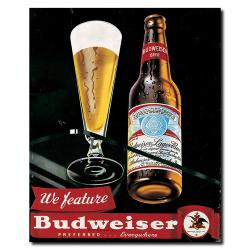 'Budweiser Vintage Ad - Bottle & Glass Blk' Canvas Art