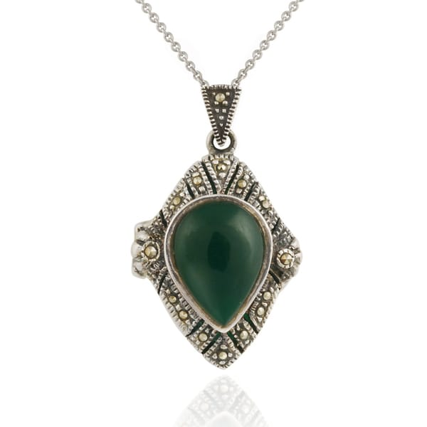 Glitzy Rocks Sterling Silver Marcasite and Agate Art Deco Locket Necklace