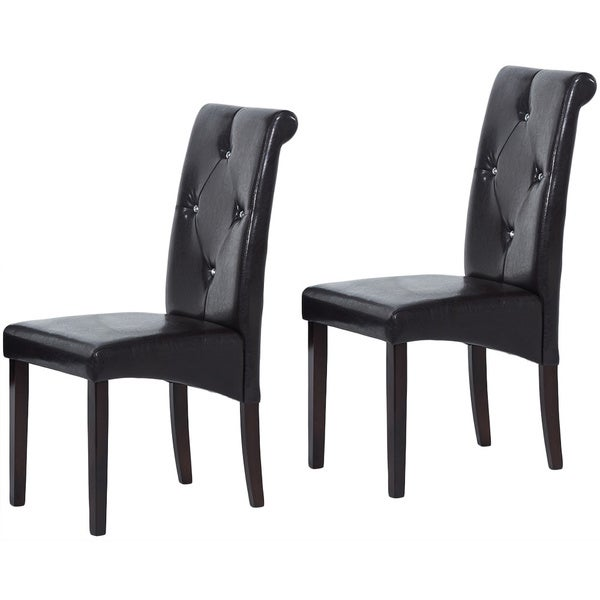 Warehouse of Tiffany Brown Bi-Cast Leather Dining Chairs (Set of 8)