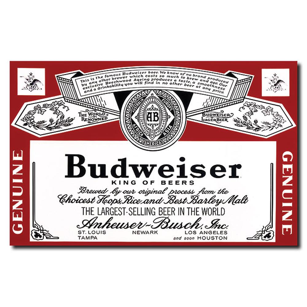 'Budweiser Vintage Beverage Label' Canvas