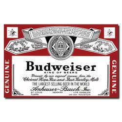 'Budweiser Vintage Beverage Label' Canvas
