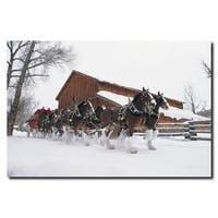 'Clydesdales - Snowing in front of Barn' Vertical Canvas Art