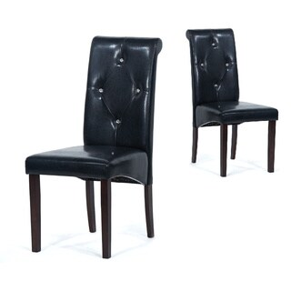 Warehouse Of Tiffany Black Polyurethane Leather Dining Room Chairs (Set Of 8 )