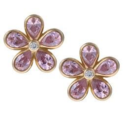 La Preciosa Sterling Silver Pink Cubic Zirconia Flower Earrings