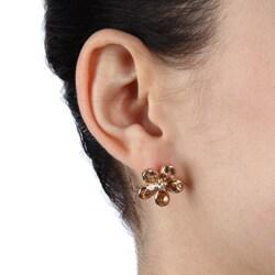 La Preciosa Sterling Silver Champagne Cubic Zirconia Flower Earrings - Thumbnail 2