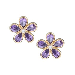 La Preciosa Goldplated Sterling Silver Purple and Clear Cubic Zirconia Flower Earrings