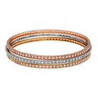 La Preciosa Three-color Silver Stackable Cubic Zirconia 3-piece Bangle Set