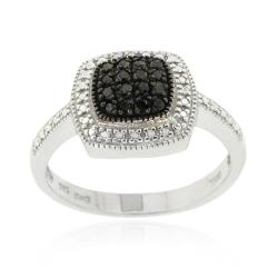 DB Designs Sterling Silver 1/5ct TDW Black Diamond Square Ring