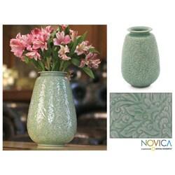 Celadon Ceramic 'Divine Profusion' Vase (Thailand)
