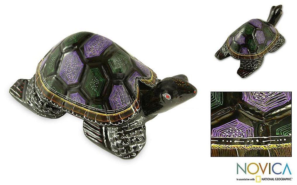 Handmade Lacquered Wood 'Longevity Turtle' Sculpture (Thailand)
