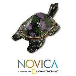 Handmade Lacquered Wood 'Longevity Turtle' Sculpture (Thailand) - Thumbnail 1