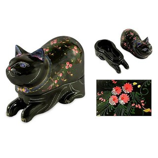 Handmade Box Lacquered Wood 'The King's Kitty Cat' Jewelry Box (Thailand)