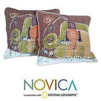 Handmade Set of Two Cotton Batik 'Elephant Family' Cushion Covers (Thailand)