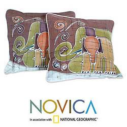 Handmade Set of Two Cotton Batik 'Elephant Family' Cushion Covers (Thailand)