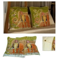Handmade Set of Two Cotton Batik 'Father and Son' Cushion Covers (Thailand)