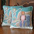 Handmade Cotton Batik Mom and Baby Cushion Set of Two Covers (Thailand)
