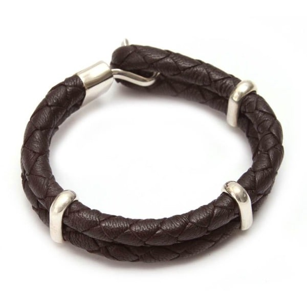 Handmade Leather Men's 'Furrows' Bracelet (Peru)