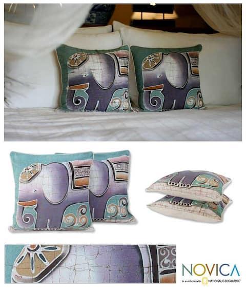 Handmade Cotton Batik Purple Pachyderm Set of Two Cushion Covers (Thailand)