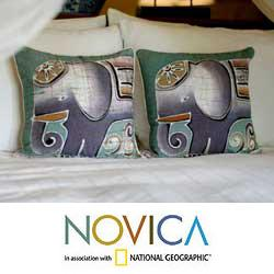 Handmade Set of Two Cotton Batik 'Purple Pachyderm' Cushion Covers (Thailand)