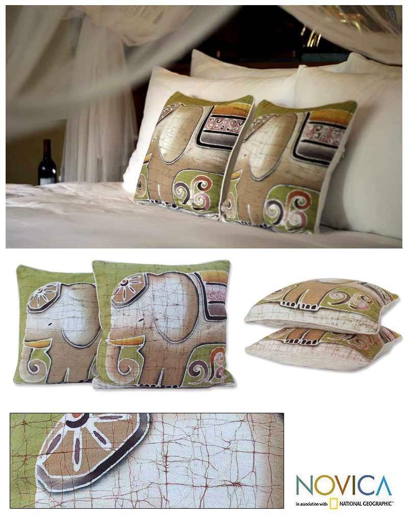 Set of Two Cotton Batik 'Perky Pachyderm' Cushion Covers (Thailand)