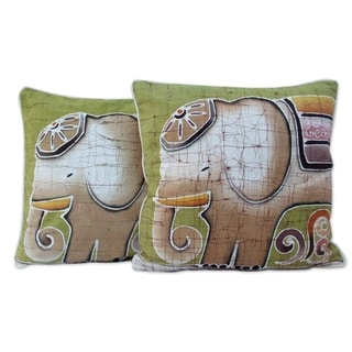 Handmade Set of Two Cotton Batik Perky Pachyderm Cushion Covers (Thailand)