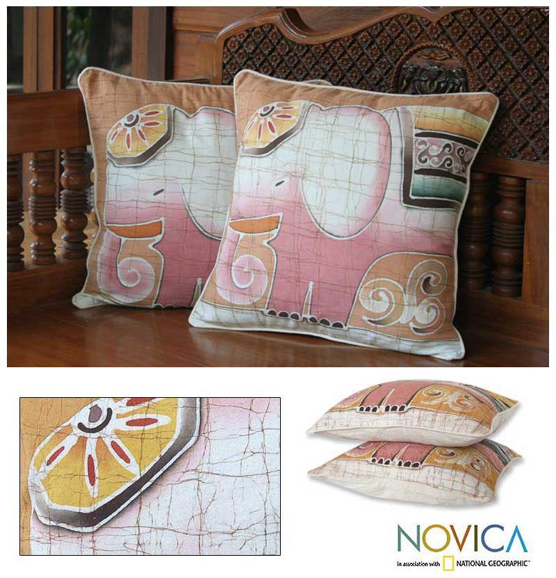 Handmade Set of Two Cotton Batik 'Pink Elephants' Cushion Covers (Thailand)
