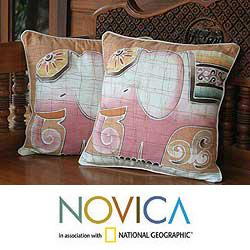Handmade Set of Two Cotton Batik 'Pink Elephants' Cushion Covers (Thailand)