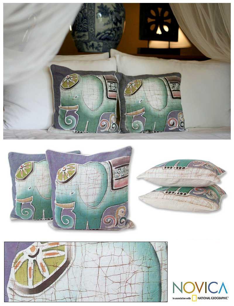 Set of Two Cotton Batik 'Dreamy Elephants' Cushion Covers (Thailand)