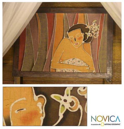 Handmade Alaya Cholprasertsuk 'Beautiful Woman' Framed Batik Art (Thailand)