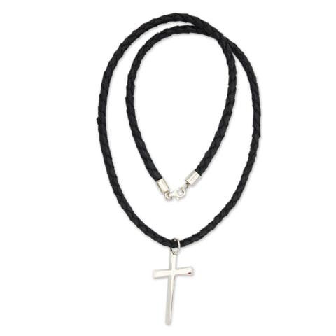 """Handmade Holy Sacrifice Sterling Silver Cross Pendant Necklace (Indonesia) - 7'6"""" x 9'6"""""""