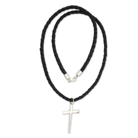 """Handmade Holy Sacrifice Black Braided Leather Cord with Sterling Silver Cross Pendant Necklace (Indonesia) - 7'6"""" x 9'6"""""""