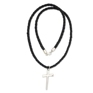 Holy Sacrifice Black Braided Leather Cord with Sterling Silver Cross Pendant Necklace (Indonesia)