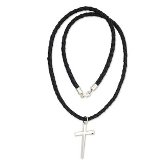 Handmade Holy Sacrifice Black Braided Leather Cord with Sterling Silver Cross Pendant Necklace (Indonesia)|https://ak1.ostkcdn.com/images/products/5530363/P13308407.jpg?_ostk_perf_=percv&impolicy=medium