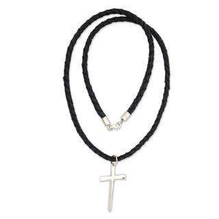 Handmade Holy Sacrifice Black Braided Leather Cord with Sterling Silver Cross Pendant Necklace (Indonesia)|https://ak1.ostkcdn.com/images/products/5530363/P13308407.jpg?impolicy=medium