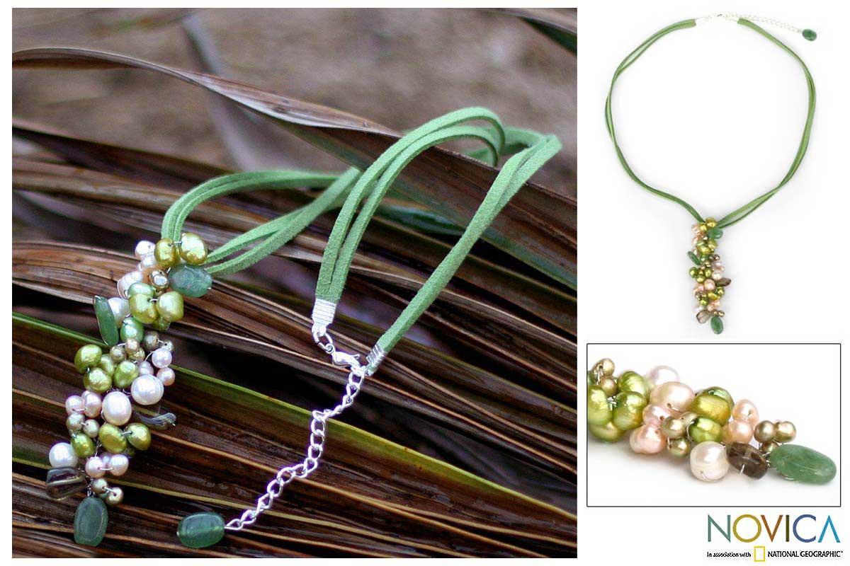 Handmade Pearl Smoky Quartz 'Verdant Fascination' Necklace (4-8 mm) (Thailand)