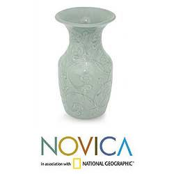 Handmade Celadon Ceramic 'Floral Fantasy' Vase (Thailand) - Thumbnail 1