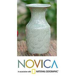 Handmade Celadon Ceramic 'Floral Fantasy' Vase (Thailand)