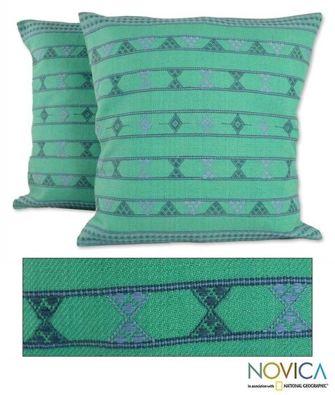Set of Two Handcrafted Cotton 'Springtime Jazz' Cushion Covers (India)