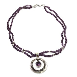 Handmade Sterling Silver Beautiful Essence Amethyst Pendant Necklace (India)