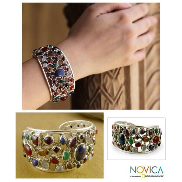 350f325078f Handmade Sterling Silver Shimmering Confetti Multicolor Gemstone Cuff  Bracelet (India)