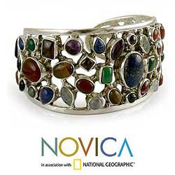 6f4df744d7c Shop Handmade Sterling Silver Shimmering Confetti Multicolor Gemstone Cuff  Bracelet (India) - Free Shipping Today - Overstock - 5530386