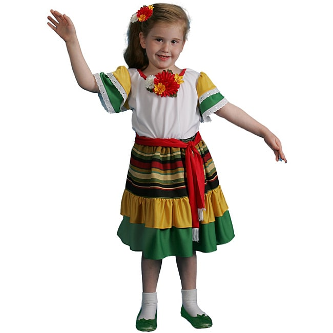 Dress Up America Kid's 4-piece Mexican Dancer Costume (Mu...