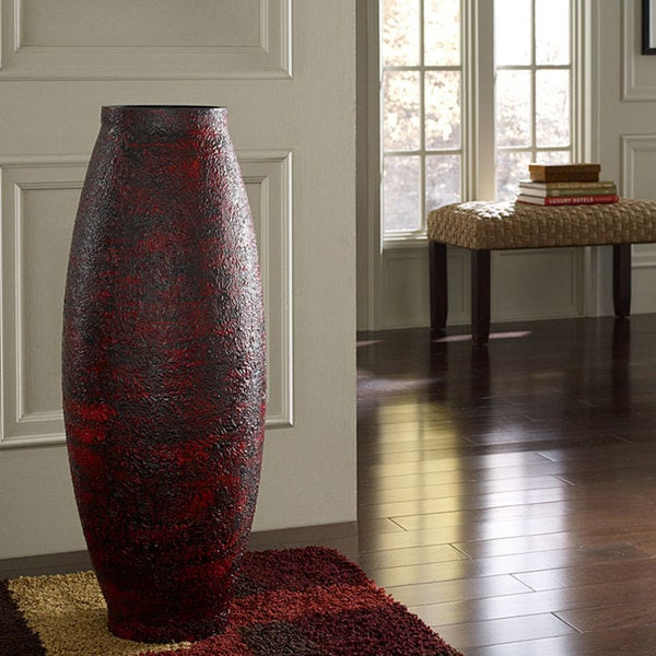 Shop Embossed Red Floor Vase Indonesia Free Shipping Today