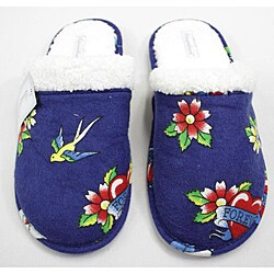 Leisureland Women's Cotton Blue Tattoo Slippers