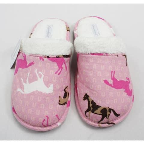 Leisureland Women's Cotton Pink Horse Slippers