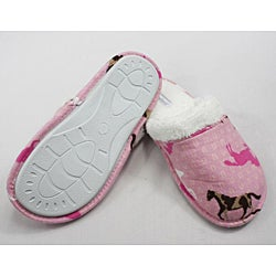 Leisureland Women's Cotton Pink Horse Slippers - Thumbnail 1