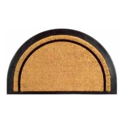 York Half Round Coir Stripe Door Mat (20 x 32)