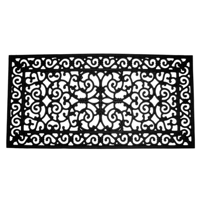 Delightful Brooklyn Black Rubber Door Mat (24 X 48)