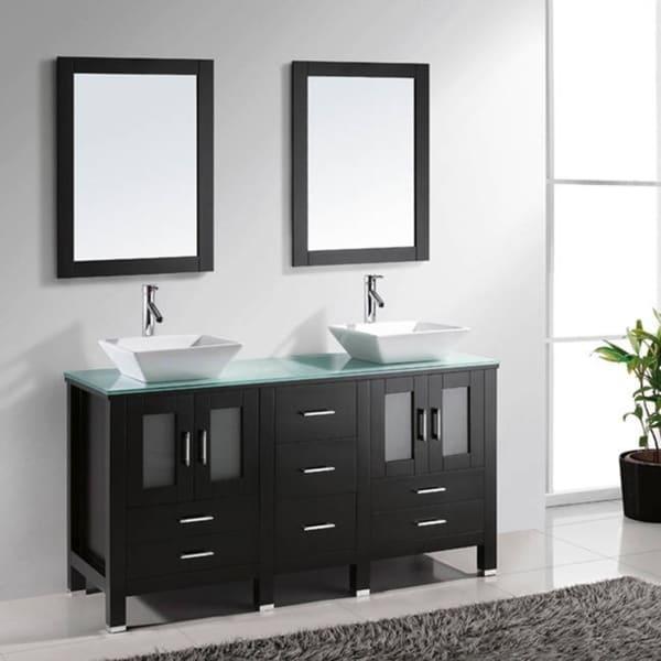 Paris 60-Inch Espresso Double-Sink Bathroom Vanity With Mirrors virtu usa bradford 60-inch double sink bathroom vanity set with